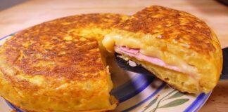Bulvių pyragas su sūriu ir kumpiu