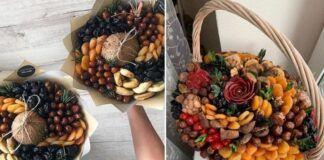 Riešutų ir džiovintų vaisių puokštė. Išmokite pasigaminti ją namuose.