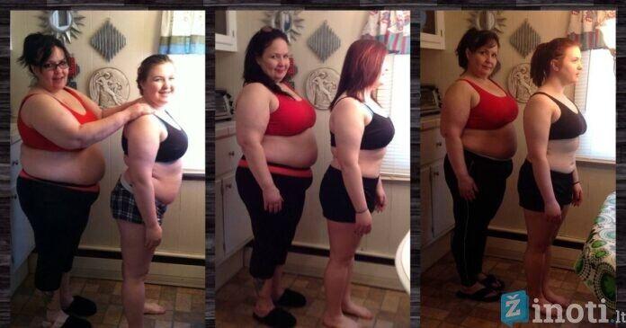 Mama ir dukra per 100 dienų numetė 33 kg! Sunki kova su viršsvoriu