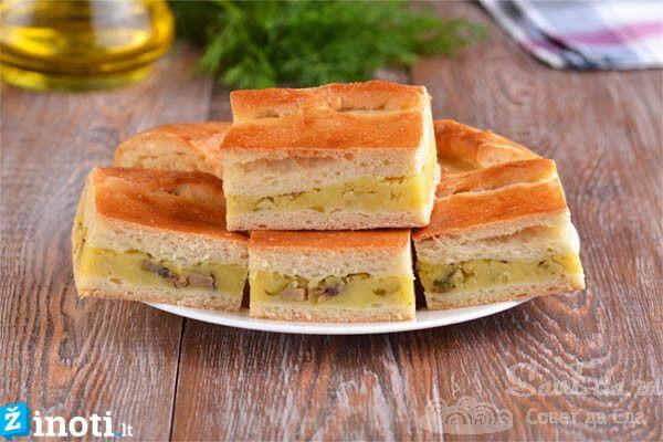 bulvių ir grybų pyragas
