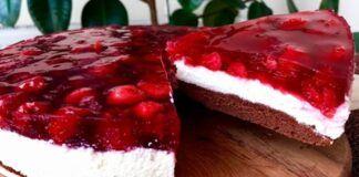 Varškės pyragas su vyšnių želė. Nepaprastai skanus desertas