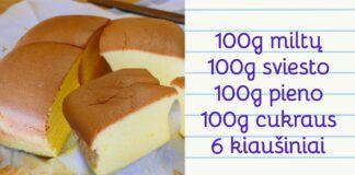 """Tradicinis """"Castella"""" kiaušinių pyragas iš Taivano. Išbandykite!"""
