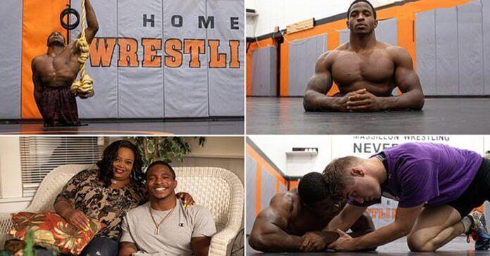 22-ejų metų vyras, gimęs be kojų sugebėjo tapti profesionaliu imtynininku