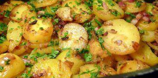 Keptos bulvės su šonine. Greitas ir labai skanus patiekalas