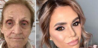 Makiažo meistrė kosmetiką naudoja tam, kad atjaunintų savo 80-metę močiutę