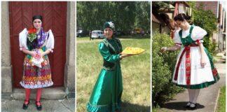 Nuotraukos, kuriose merginos didžiuojasi savo šalies tautiniais kostiumais