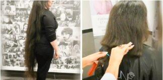 Moteris nusprendė nusikirpti labai ilgus plaukus. Pokyčiai jai tinka!