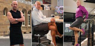 Amerikietis drąsiai puošiasi sijonais ir aukštakulniais, nes jam tai patinka