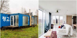Namas iš konteinerių užmiestyje: puikus sutuoktinių projektas
