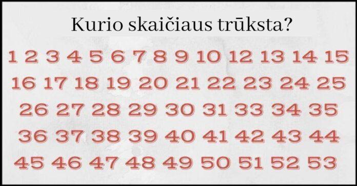 Ar galite greitai rasti, kurio skaičiaus trūksta? Tik keli žmonės tai padaro per 10 sekundžių