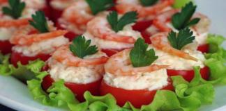 Vyšniniai pomidorai su krevetėmis ir lydytu sūriu