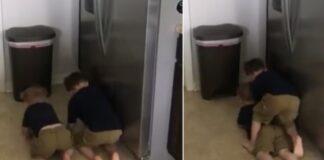 Tėvai užrakino šaldytuvą. Dabar milijonai juokiasi iš vaikų bandymo į jį įsilaužti
