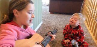 2 metų vaikas turi Dauno sindromą ir vos gali kalbėti. Bet kai jo sesuo pradeda dainuoti, įvyksta stebuklas!