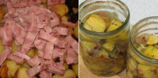 Keptos bulvės stiklainyje. Labai skanus ir neįprastas patiekalas