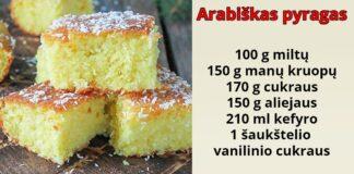 Arabiškas pyragas su kefyru ir manų kruopomis
