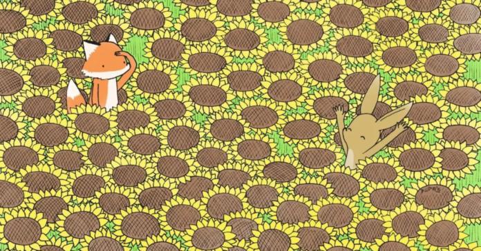 Testas: ar galite rasti geltoną drugelį pasislėpusį pievoje?