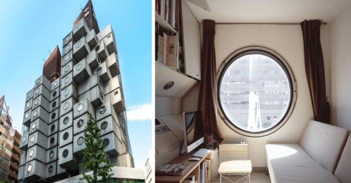 Nakagin kapsulių bokštas Japonijoje arba 9 kv. m gyvenamojo ploto