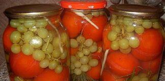 Konservuoti pomidorai su vynuogėmis patiks visai šeimai