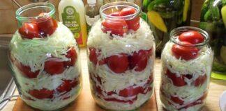 Konservuoti pomidorai su kopūstais. Neįprastos atsargos žiemai