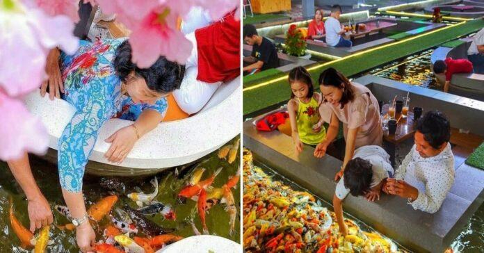 Vietname atidarytoje kavinėje galite mėgautis gėrimu vidury ežero, kuriame plaukioja žuvys