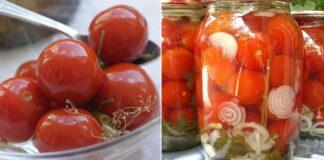 Konservuoti pomidorai su morkų lapais. Skanios ir gražios atsargos
