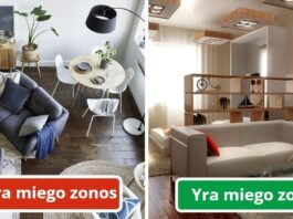 Kaip sukurti skirtingas erdves vieno kambario bute?